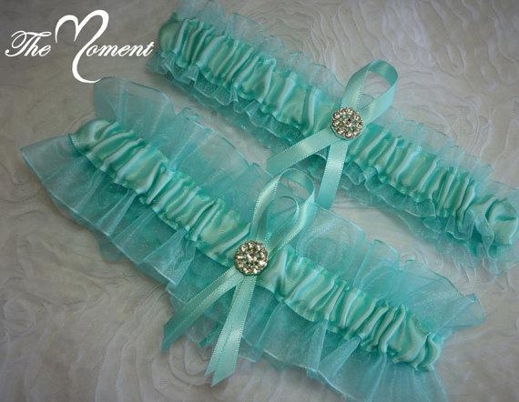 Свадьба - Aqua Garter Set, Keepsake and Toss-away Garter Set, Ribbon Garter, Prom Garter, Organza Garter, Bridal Garter, Wedding Garter, Aqua Garter