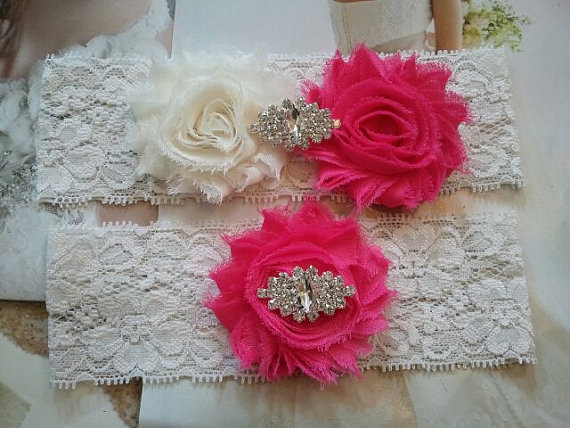 Свадьба - Wedding Garter, Bridal Garter, Garter -  Ivory/Hot Pink Flowers on a Stretch Ivory Lace with Rhinestones - Style G30007