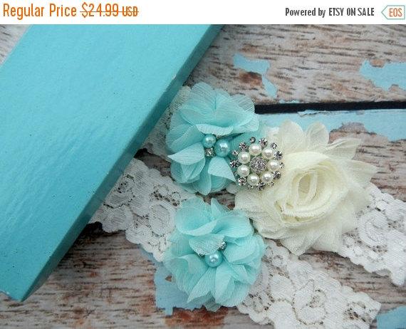 Свадьба - ON SALE GARTER Set / Aqua Blue Wedding Garter Set / You Design / Bridal Garter Set / Vintage Garter / Toss  garter / Lace Garter / Garters