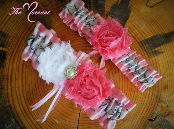 Wedding - White Camo Garter with Coral Lt Pink, Camo Wedding Garter Set, Pink Garter, Handmade Garter Set, Camo Wedding, Bridal Garter, Wedding Garter