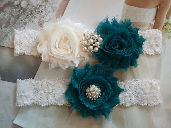 Wedding - Wedding Garter, Bridal Garter, Garter -  Ivory/Teal Flowers on a Stretch Ivory Lace with Pearls & Rhinestones - Style G30040