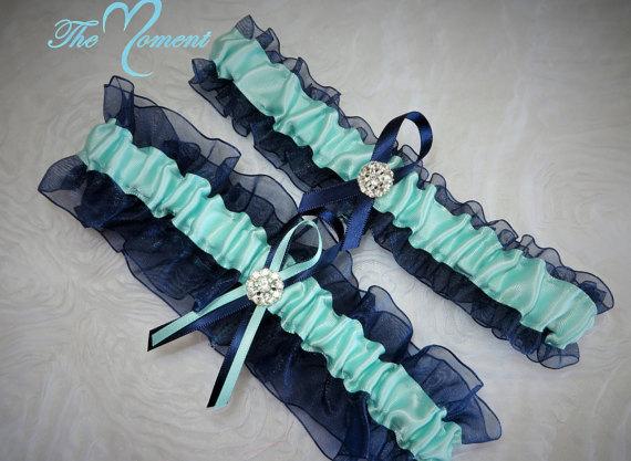 Hochzeit - Navy Blue and Aqua Garter Set, Something Blue Garter Set, Ribbon Garter, Prom Garter, Bridal Garter, Wedding Garter, Aqua Garter, Navy Blue
