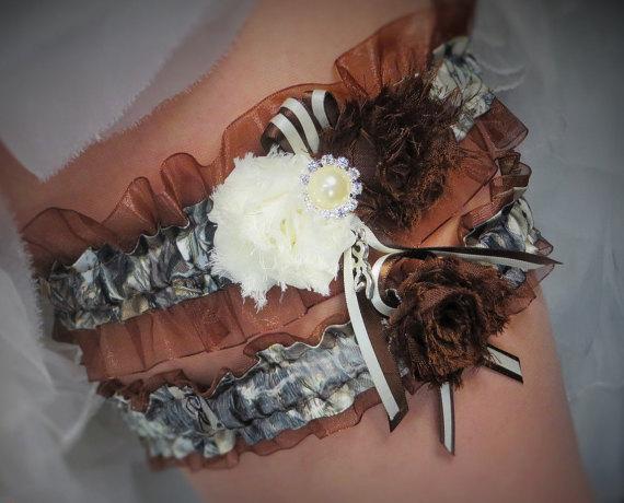 Wedding - Brown Camo Garter Set, Camo and Brown True Timber Garter Set, Brown Garter, Camo Wedding, Prom Garter, Bridal Garter