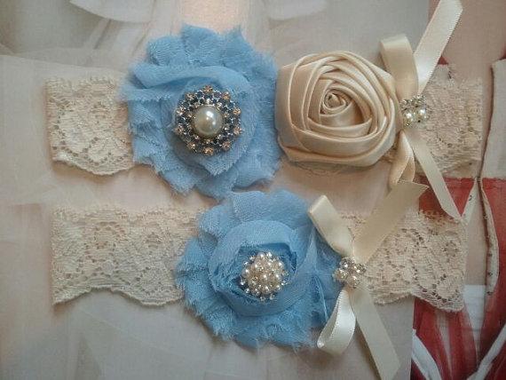 Свадьба - Wedding Garter, Bridal Garter, Garter - Something Blue Garter Set with Pearl & Rhinestone - Style G2041