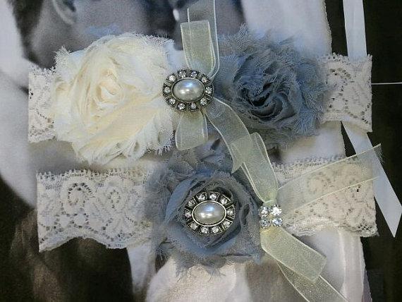 Wedding - Wedding Garter, Bridal Garter, Garter - Ivory/Silver Garter Set with Pearl & Rhinestone - Style G2032