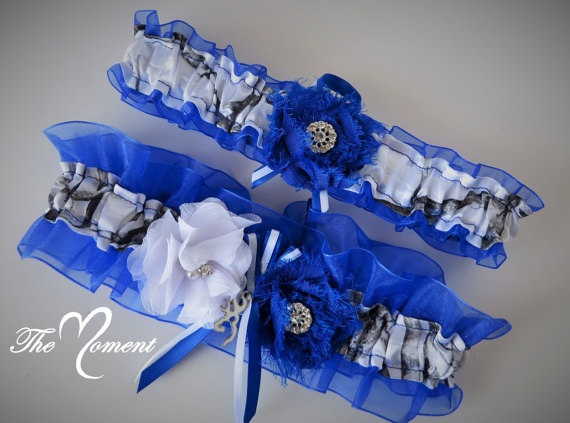 75e517e8833 White Camo Garter Set With Royal Blue