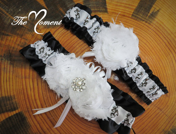 Wedding - Deer Head Garter with Black, Camo Garter Set, Black Garter, Handmade Garter Set, Camo Wedding, Bridal Garter, Wedding Garter, Prom Garter
