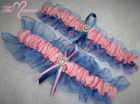Hochzeit - Pink and Smoke Blue Garter Set, Something Blue, Ribbon Garter, Prom Garter, Bridal Garter, Wedding Garter, Blue and pink Garter