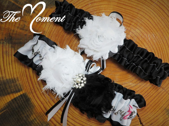 Mariage - Country Girl Garter, Camo Garter, Prom Garter, Bridal Garter, Wedding Garter, Country Wedding, Camo Wedding, Black Garter