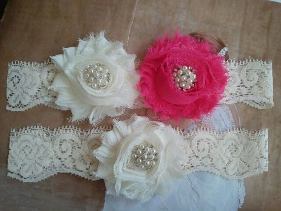 Hochzeit - Bridal Garter, Wedding Garter and Toss Garter Set - Ivory/Hot Pink Flowers on a Ivory Lace with Pearl & Rhinestone  - Style G236