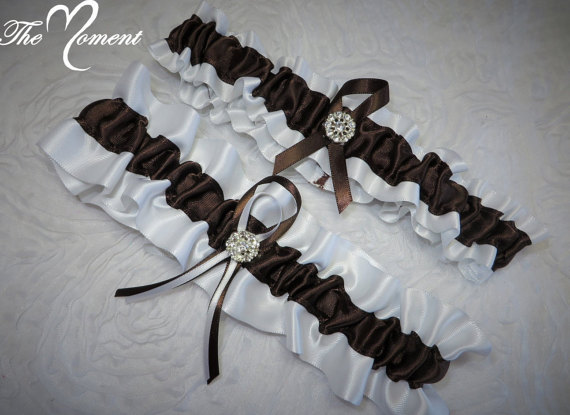 Hochzeit - White and Brown Garter Set, Keepsake and Toss-away Garter Set, Ribbon Garter, Prom Garter, Brown Garter, Bridal Garter, Wedding Garter