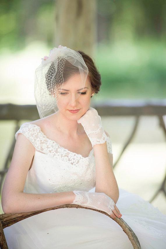 زفاف - tulle birdcage veil with pearls, ivory blusher veil, net veiling, ivory blusher veil - ISABELLE -  white birdcage, bridal hair accessory