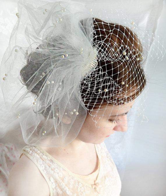 Mariage - wedding birdcage veil, wedding bird cage veil with pearls, ivory or white tulle veil - JOLICOEUR - bridal hairpiece, small bridal birdcage