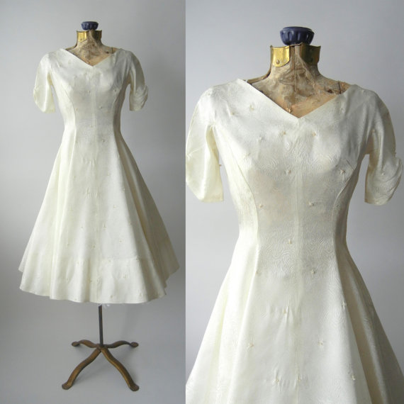 1950s Dress Vintage Ivory Satin Wedding Retro 50s White Prom 1950 Swing