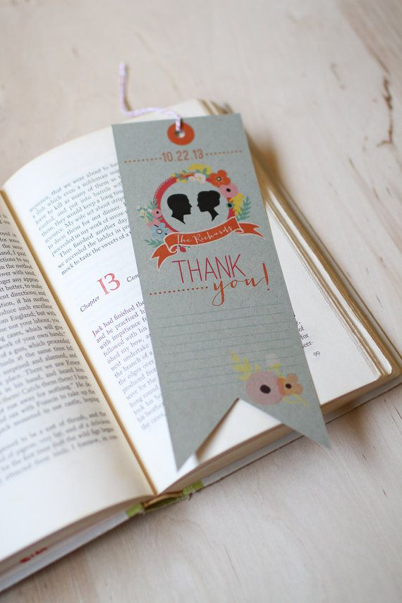 wedding bookmark thank you card library book wedding invitation