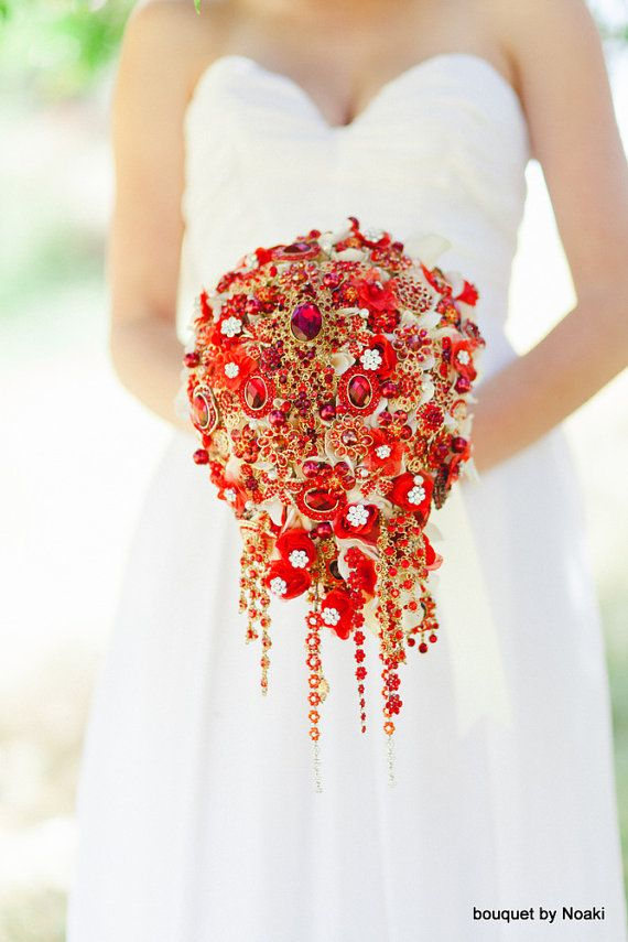 Wedding - Deposit On Cascading Red And Gold Brooch Bouquet -- Made To Order  Bridal Bouquet