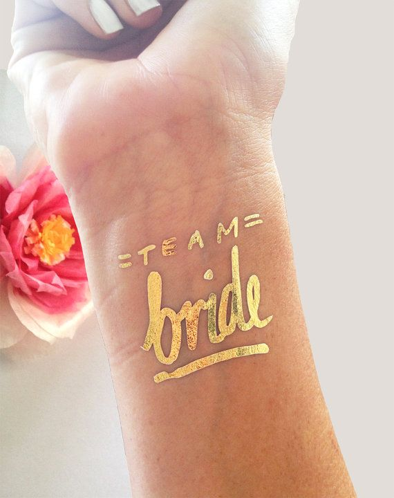 Свадьба - Bachelorette Party Favor,bachelorette Tattoo, Flash Tattoo,gold Tattoo,team Bride,fake Tattoo,bridal Party,bridesmaid Tattoos,wedding Tattoo