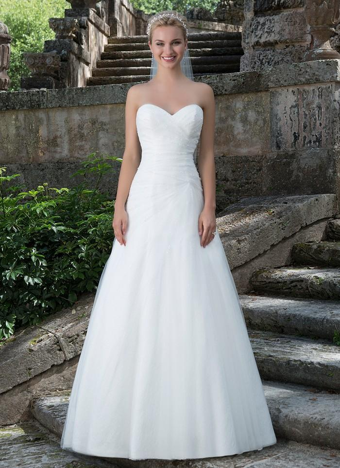 Wedding - Asymmetrically Ruched Sweetheart Neckline Tulle A-line Wedding Dresses Lightly Beaded Chaple Train Zipper Back with Buttons Bridal Gowns Online with $146.6/Piece on Gama's Store