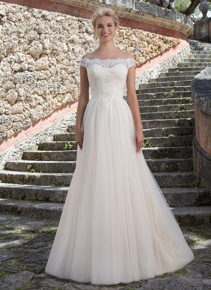 Wedding - Portrait Neckline Illusion Beaded Lace And Tulle A-line Wedding Gowns Zipper Back with Covered Buttons Bridal Dresses Online with $146.6/Piece on Gama's Store