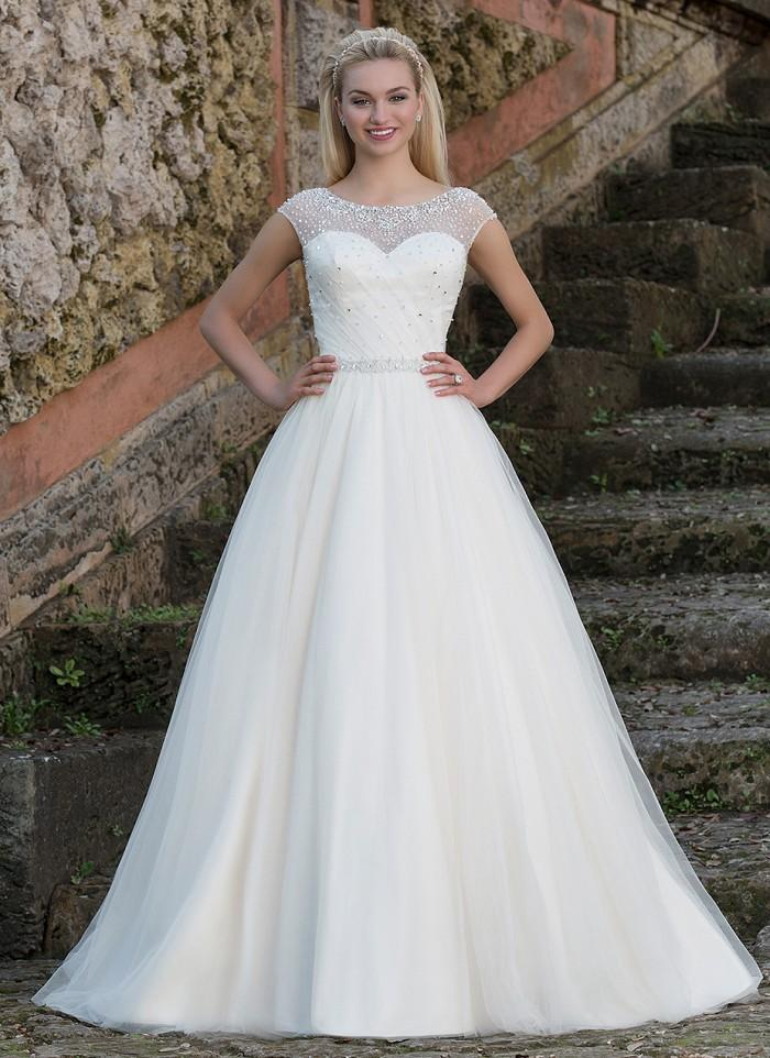 Princess Beaded Illusion Sabrina Neckline Ball Gown Wedding Dresses ...