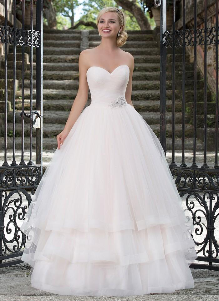 Wedding - Ruched Tulle Sweetheart Neckline Pastel Ball Gown Wedding Dresses 3 Tiered Bridal Gowns with Full Tulle Skirt And Beaded Belt Online with $157.07/Piece on Gama's Store