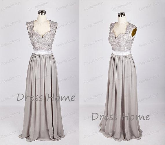 Newest 2015 Silver Grey Long Lace Bridesmaid Dress/A Line Chiffon ...