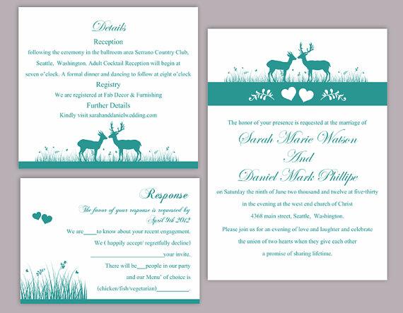 Hochzeit - DIY Wedding Invitation Template Set Editable Word File Download Printable Reindeer Invitation Blue Wedding Invitation Teal Invitation