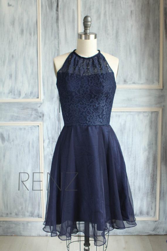 Wedding - 2015 Navy Blue Bridesmaid dress, Halter Wedding dress, Lace dress, Chiffon Party dress, Formal dress, Prom dress Knee length (B080B)-RENZ