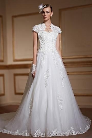 d414d9d1400e6 Modern High Neck Tulle Beading Short Sleeves Wedding Dress- AU$ 760.97 -  DressesMallAU.com