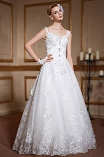 Wedding - Modern Spaghetti Straps A Line Lace Ivory Wedding Dress- AU$ 760.97 - DressesMallAU.com