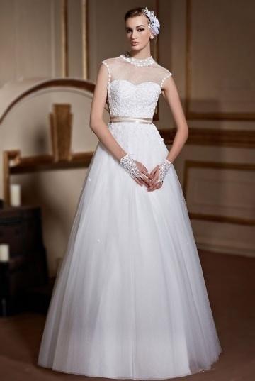 زفاف - Elegant High Neck A Line Tulle Long Bridal Gown- AU$ 706.61 - DressesMallAU.com