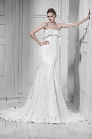 Wedding - Simple Strapless Ruffle Sleeveless Mermaid Taffeta Wedding Dress- AU$ 298.95 - DressesMallAU.com