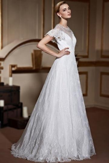 Wedding - Elegant Short Sleeves A Line Ivory Lace Bridal Dress- AU$ 646.82 - DressesMallAU.com