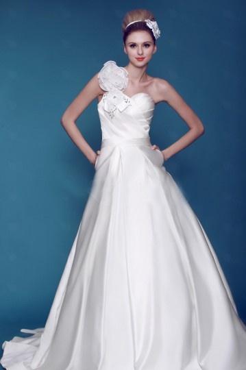 Wedding - Gorgeous One Shoulder Sleeveless Ball Gown Satin Wedding Dress- AU$ 353.31 - DressesMallAU.com