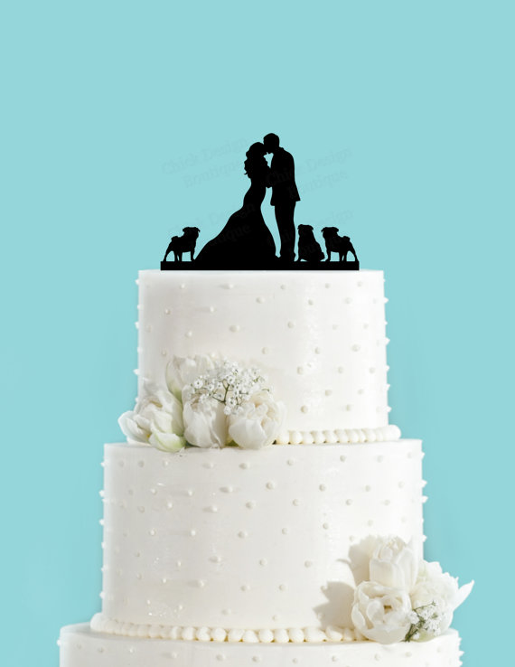 Свадьба - Custom Couple Kissing with Your Choice of Multiple Dogs or Cats Acrylic Wedding Cake Topper