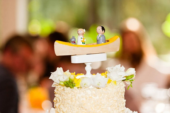 Wedding - Custom Canoe Cake Topper - Custom Topper - Outdoor Wedding with one Pet