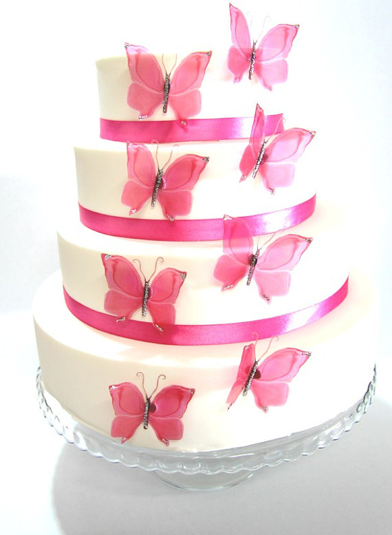 Wedding - 12 Hot Pink Stick on Butterflies, Wedding Cake Toppers, Butterfly Cake Decorations UNGLITTERED