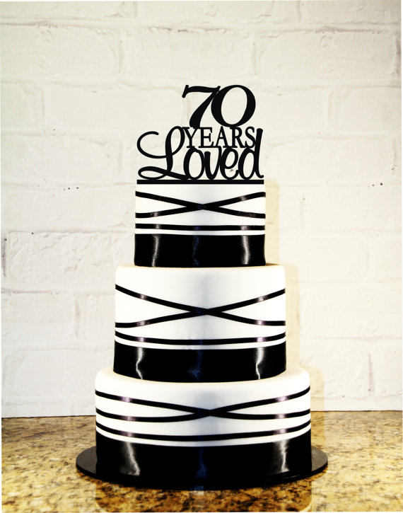 Mariage - 70th Birthday Cake Topper - 70 Years Loved Custom - 70th Anniversary