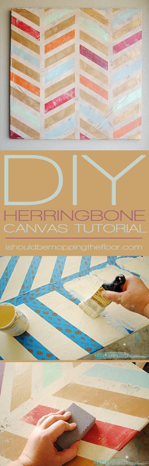 Hochzeit - I Should Be Mopping The Floor: DIY Herringbone Canvas Art