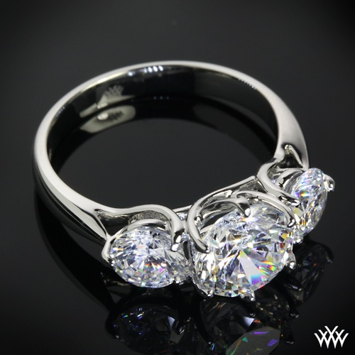 "Platinum ""Butterflies"" 3 Stone Engagement Ring Setting ly 2374"