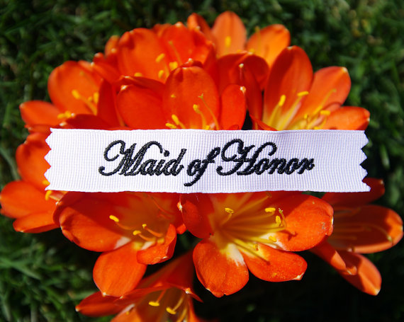Свадьба - Made of Honor Personalized  Labels  by Natalia Sabins Custom Embroidered