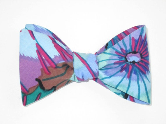 Свадьба - Mens Freestyle Bow Tie Lotus Flower Petal Abastract Floral Blues Purples Great with Navy Freestyle Self Tie BowTie