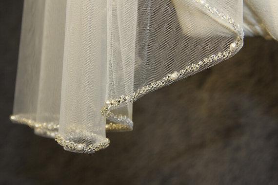 زفاف - 1T beaded veil, minimalist new design high quality bridal veil, crystal veil, wedding veil, white, ivory beads beaded veil