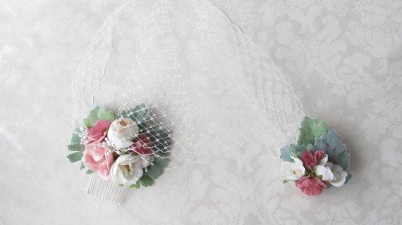 زفاف - Floral Birdcage Veil / Flower Birdcage Veil /