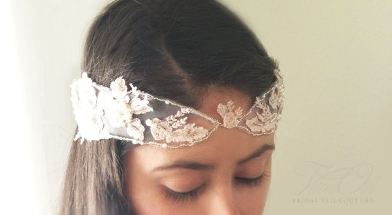 Hochzeit - Bridal Blush Pink headdress head piece hand beaded antique lace - ELISE