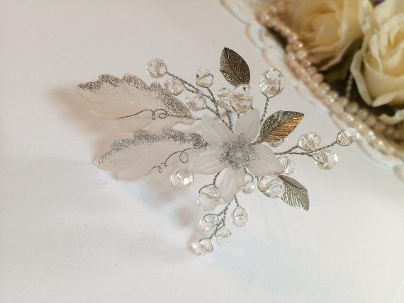 Wedding - Bridal hair pin, silver headpiece wedding, silver hair pin, flower hair pin, wedding headpiece, wedding hair pin, wedding hair pins