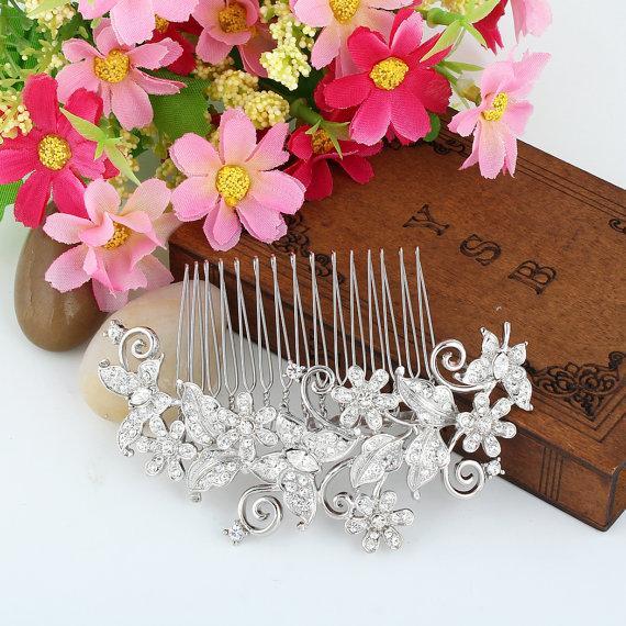 Wedding - Bridesmaid Hair Comb,Wedding Hair Comb,Bridal Hair Comb,Flower Hair Comb,Butterfly Hair piece,Swarovski Crystal Comb,Wedding Accessory-10373