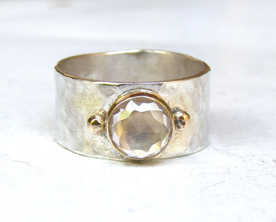 Свадьба - Handmade Engagement Ring - Fine 14k gold ring silver ring White Topaz Gemstone Similar diamond ring MADE TO ORDER