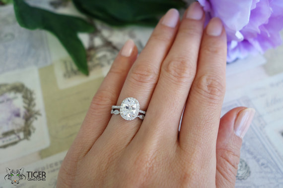 Wedding - 1.5 Carat, Oval Halo Engagement Ring, Vintage, D Color Man Made Diamond Simulants, Art Deco, Wedding, Bridal, Promise Ring, Sterling Silver