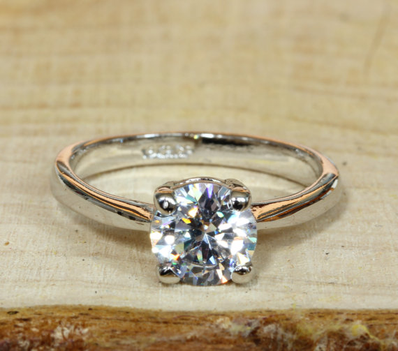 Wedding - ON SALE! 18ct White Gold Filled Solitaire 1.1ct Natural White Topaz ring - Engagement Ring - Handmade Ring